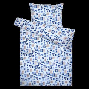 Kék szívecskés pamut krepp ovis ágynemű
