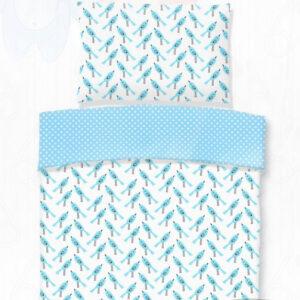 Kék madárkás gyerek pamut ágynemű